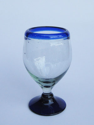 Wholesale MEXICAN GLASSWARE / 'Cobalt Blue Rim' stemless wine glasses  / Add sophistication to your table with these stemless all-purpose wine glasses. Each bordered with a beautiful blue rim.